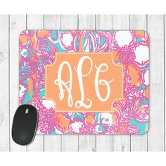 Lilly Pulitzer Inspired Mousepad Monogrammed Mouse Pad Monogrammed... ($12) ❤ liked on Polyvore featuring home, home decor, home & living, office, office & school supplies, silver, green home decor, personalized home decor and inspirational home decor
