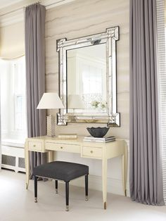 Lichten Craig Architects - living rooms - elegant living room, lilac curtains, faux bois, faux bois wallpaper, fretwork mirror, ivory desk, ...