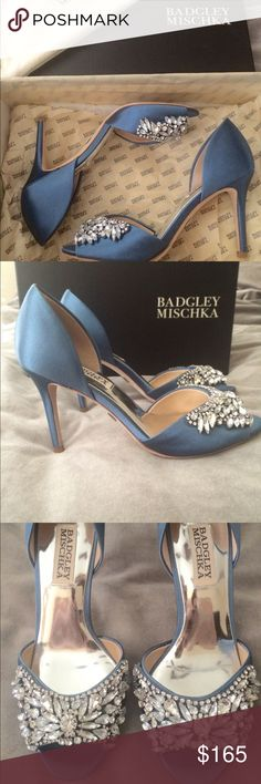 """BADGLEY MISCHKA STORMY BLUE HEELS SIMPLY GORGEOUS! These were my """"something blue"""" wedding shoes, and absolutely stunning!! Designer satin heels with jewel accents are the perfect accessory for any special occasion! Worn ONCE for a couple of hours. Comes in box with dust bag and the extra gems that came with them. No stones missing! Someone must have these!! ✨ Badgley Mischka Shoes Heels"""