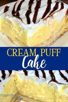 Cream Puff Dessert, Cream Puff Cakes, Cream Puff Recipe, Puff Pastry Desserts, Köstliche Desserts, Delicious Desserts, Spring Desserts, Pudding Desserts, Yummy Food