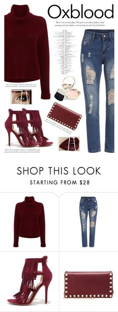 """""""oxblood (contest entry)"""" by lyka123 ❤ liked on Polyvore featuring 360 Sweater, Wild Diva, Valentino and By Terry"""
