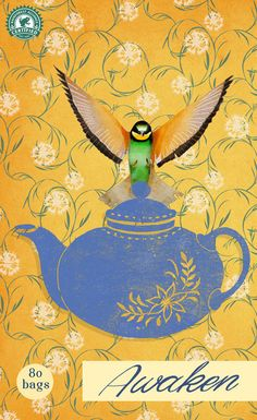 #carriemay #newdivision #illustration #mixedmedia #stylised #textured #teapot #bird #teabags #decorative