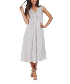 Another great find on #zulily! Beige Stripe Lace-Shoulder Linen Shift Dress - Plus Too #zulilyfinds