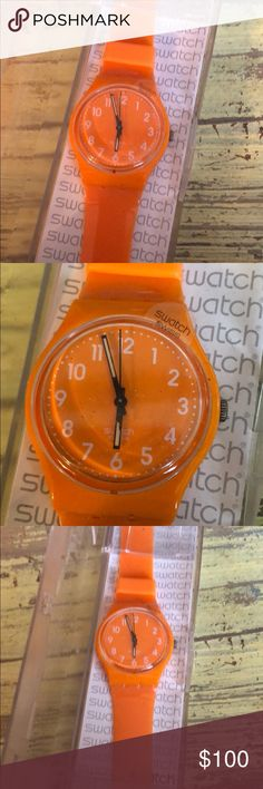 Swatch Watch Ladies Fresh Papaya Orange New! Brand new in the case. Still has the face protector plastic on it! Ladies watch. The color is fresh papaya. Bright orange! Perfect for summer! Swatch Accessories Watches