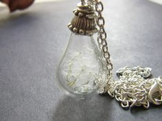Real Dandelion Seeds Necklace Hand Blown Glass Tear Drop - MAKE A WISH £19.00