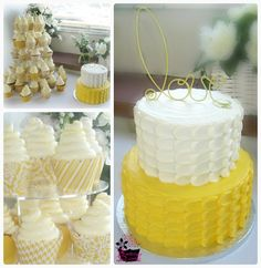 Yellow & White Petal Wedding Cake with High Hat Swiss Meringue iced Lemon and Red Velvet Cupcakes