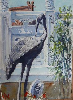 """Temple Garden"" Original Watercolor Painting 7"" X 5""Original art #Realism"