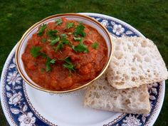 Ajvar - Red pepper and eggplant relish  - with instructions how to roast the eggplant for the Turkish Pizza recipe.