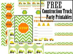 vixenMade: FPF: Construction/ Truck Party Printables (green chevron and orange, etc.)