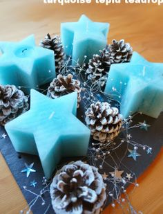 Adventskranz Advent wreath / christmas decoration Turquoise Tepid Teadrop