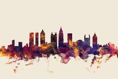 Skyline Series: Atlanta, Georgia, USA On Beige by Michael Tompsett is printed with premium inks for brilliant color and then hand-stretched over museum quality stretcher bars. 60-Day Money Back Guarantee AND Free Return Shipping.