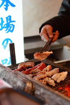 Grilled crab served on the street in Dotonbori, Osaka
