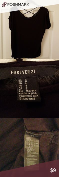 Black Cold Shoulder Top Cold Shoulder  X Cross in back Forever 21 Tops Tees - Short Sleeve