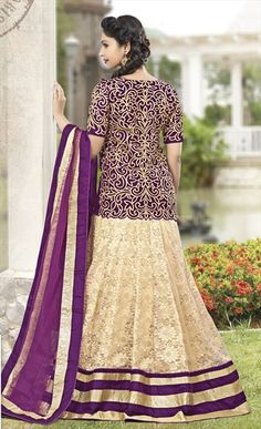 167172 Beige and Brown  color family Long Lehenga Choli in Brasso, Velvet fabric with Lace, Machine Embroidery, Stone work .