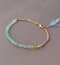 Ombre Aquamarine Gemstone Beaded Gold Bracelet also available in Silver