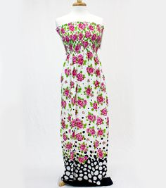 """Style in an Instant 53"""" Shirred Dress Roses Dots White Fabric"""