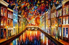 Night Amsterdam  Palette Knife Living Room Decor Oil Painting
