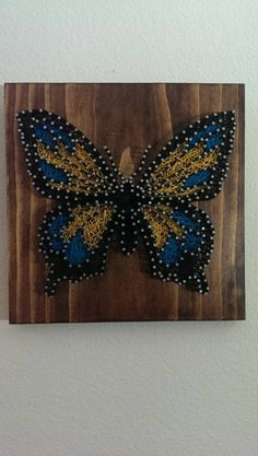 Butterfly Nail and String Art by brokenwingArts on Etsy