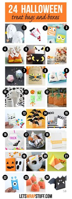A collection of 24 Halloween treat bags and boxes. perfect to fill with candy and other treats and share as Halloween party favors. Dulceros Halloween, Bonbon Halloween, Halloween Goodie Bags, Halloween Treat Boxes, Halloween Class Party, Halloween Treats For Kids, Goodie Bags For Kids, Halloween Party Favors, Halloween Goodies