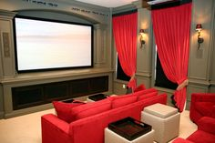 Interior Foxy Home Theater Design And Decoration Using Grey Wood Home Theater Wall Panel Including Red Leather Home Theater And Red Home Theater Curtain Ideas : Exquisite Pictures Of Home Theater Ideas Design And Decoration. Pictures Of Home Theater Rooms Theater Room Decor, Home Theater Rooms, Home Theater Design, Home Interior Design, Cinema Room, Diy Interior, Room Interior, Interior Decorating, At Home Movie Theater