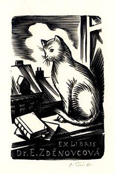 Ex libris by Pavel Šimon (Czech, 1920 - 1958)