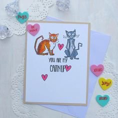 Funny Valentine - Cat Love Card / Pussy / Cat Stationery / Cat Valentine / Funny Love Card / Funny Friendship Card / Valentines Day Card