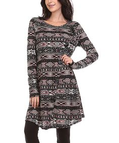This A La Tzarina Charcoal & Coral Geometric Button-Accent Tunic - Plus by A La Tzarina is perfect! #zulilyfinds