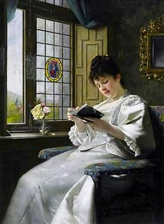 Reading Young Woman in a White Silk Dress by the Window Overlooking the Castle Gardens. Ernst Anders (1845-1911).