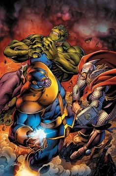 Thanos vs. Hulk & Thor- Thanos Demonstates enormous superhuman strength, stamina, and durability. He can absorb and project vast quantities of cosmic energy and is capable of telekinesis, telepathy and matter manipulation. Thanos is an accomplished hand-to-hand combatant, having been trained in the art of war on Titan.