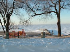 Looking out over frozen Lake Erie -- Lorain, Ohio