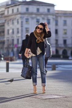 my closet: jeans (old navy).  grey top (?).  black cardi (target).  fur scarf (f21).  any brooch (possible: burlington coat factory).