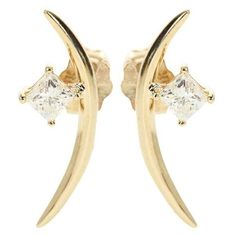 Wasson Fine 14kt Gold Diamond Earrings ($1,575) ❤ liked on Polyvore featuring jewelry, earrings, gold, diamond jewellery, earring jewelry, earrings jewellery, yellow gold jewelry and diamond earrings