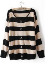 Black Beige Striped Long Sleeve Buttons Cardigan Sweater $30.32