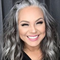 gray transition ideas for brunettes Long Gray Hair, Silver Grey Hair, Grey Brown Hair, Short Silver Hair, Grey Hair Looks, Grey Hair Dye, Grey Curly Hair, Ombre Hair, Grey Hair Transformation