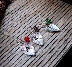 Personalized Birthstone Leaf Charm  Silver by NadinGlassico, $4.90