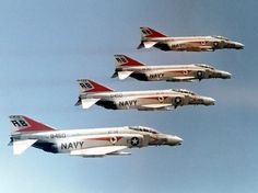 "F-4B Phantoms of VF-14 ""Tophatters"", 1970."