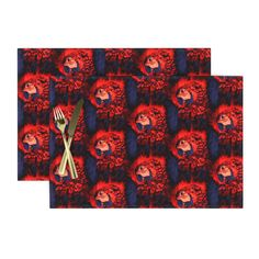 PARROT HEAD 3 STAGGERED INDIGO RED on Lamona by paysmage | Roostery Home Decor Cotton Canvas, Cotton Fabric, Placemat Sets, Elegant Table, Natural Texture, Basket Weaving, Spoonflower, Parrot, Swatch