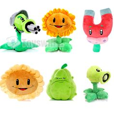 This Plants Vs Zombies plush toys package contains 6 pieces, two sunflowers, one peashooter, one gatling pea, one squash, and one magnet-mushroom. They are 30 to 45cm in size. Buying 6 or more pieces will be a big deal. It not only helps save money, but also adds more playmates for you.