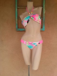 Vintage 1980s Swim Suit Bikini Neon Grafitti Splatter B34 Up to US8 2015298 - pinned by pin4etsy.com