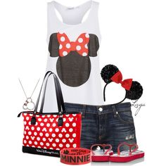 """""""Minnie Mouse"""" by lagu on Polyvore - probably wouldn't wear the ears but this would be cute for our disney trip :)"""