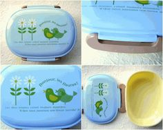 This is a very cute bento box. There are cute 2 birds and 2 flowers on blue color. So kawaii It says Bonjour, les fleures! #bento #lunch #kitchen