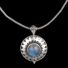 Sterling Silver Sun Necklace-Rainbow Moonstone, Handmade Chain
