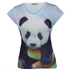 Panda Portrait Juniors V-Neck T-Shirt