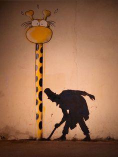 Kenny Random street art, silhouette man