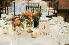 Modern rustic chic Fall wedding centerpieces - pink blossoms and greenery displayed in mercury glass vessels {Eileen K. Photography}