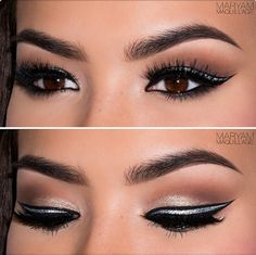 Natural look with black & silver eyeliner