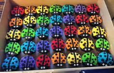 My rainbow ladybug cupcake army  Made these for my cousin's daughter's first birthday party. Such fun colors!