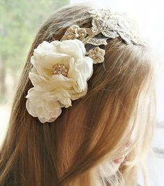 Lace Bridal Headband, Bridal Headpiece, Gold, Champagne, Pearl, Bridal Hair Flowers, Wedding Hair Accessories, Bridal Hair Piece