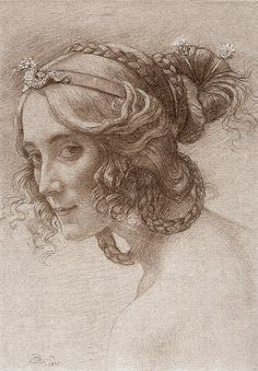 """Portrait de Madame Berthelot"" ~ 1895 ~ Armand Point (French symbolist painter, engraver, and designer, Life Drawing, Figure Drawing, Painting & Drawing, Pencil Portrait, Portrait Art, Art Sketches, Art Drawings, Academic Drawing, Rose Croix"