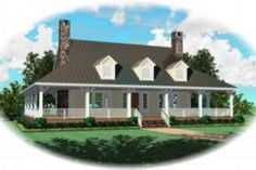 11' porch, 10 ceiling 8/12 pitch - sullivan home plan.. move dormers higher up on roof line, spread out some, larger size dormer in middle.  House Plan 81-729